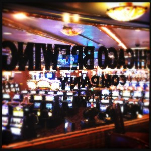 Las Vegas:  Chicago Brewing Company-A view from the bar to the casino floor